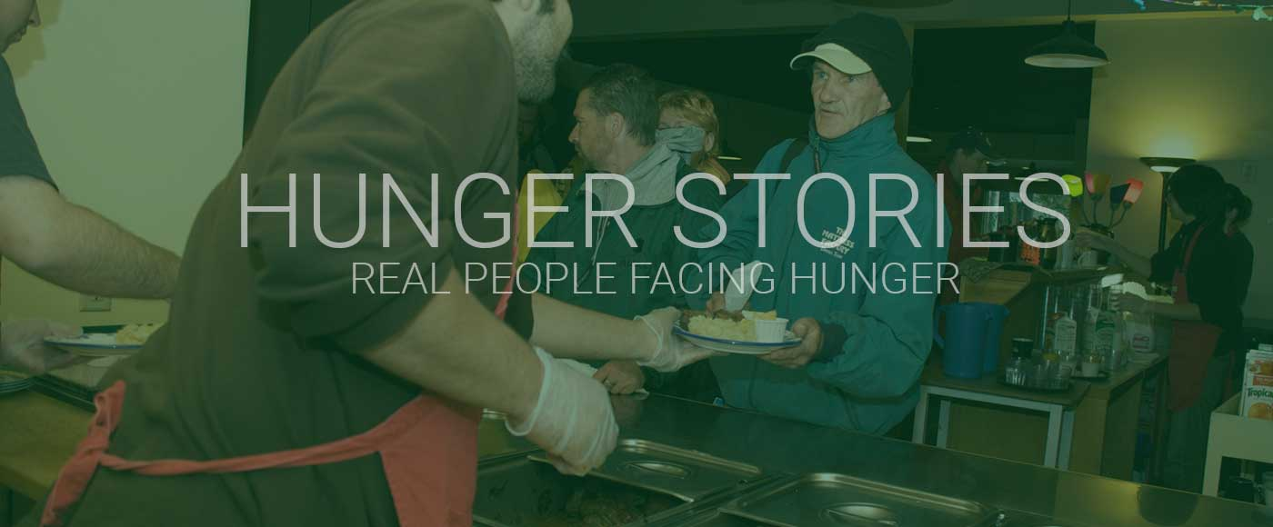 a person receives a meal over a counter. text reads hunger stories real people facing hunger
