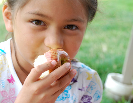 a young girl in a white butterfly shirt eats an apple