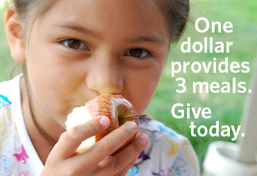 donate small person holding an apple one dollar provides 3 meals