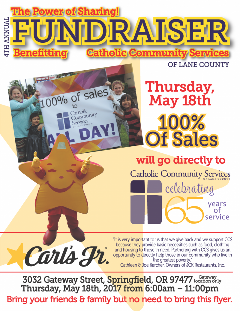 carl's jr. day for catholic community services - food for lane county
