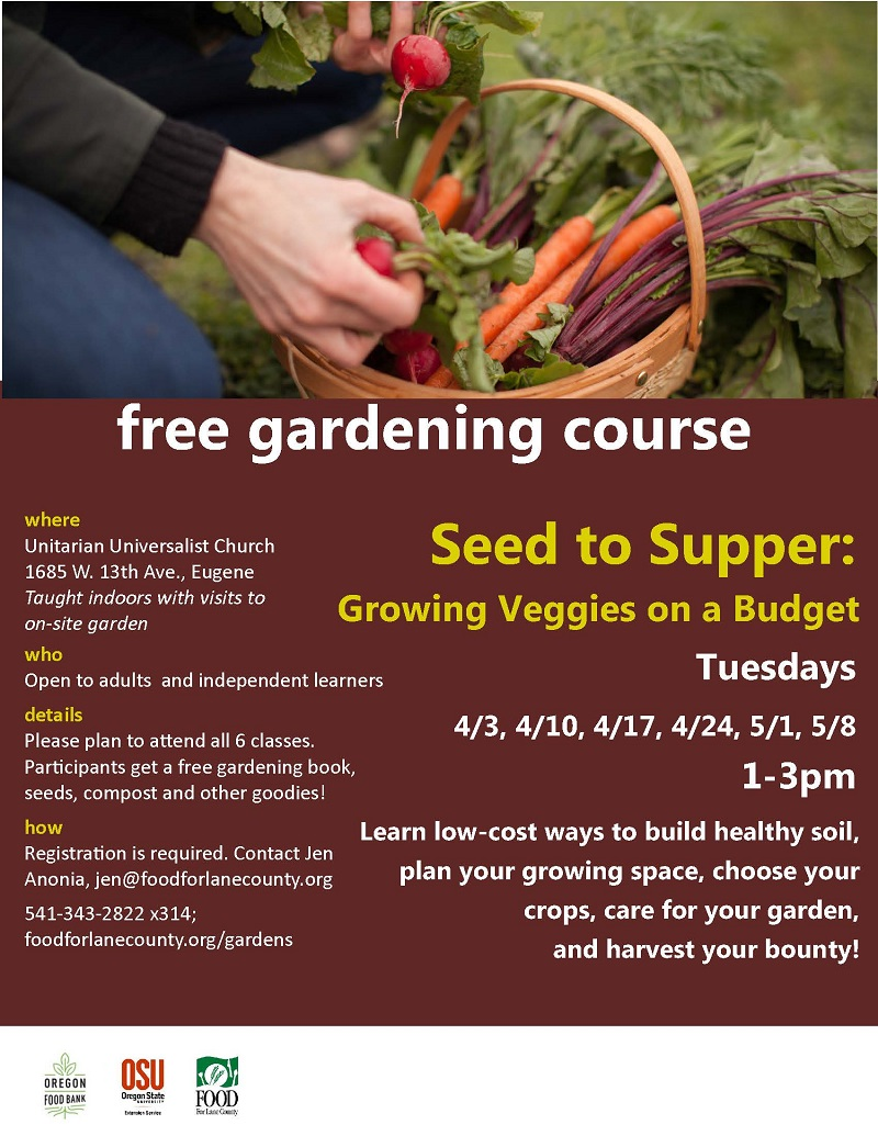 Free Gardening Course at the Unitarian Universalist Church in Eugene ...