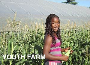 Young girl holding an ear of corn and smiling. text reads youth farm