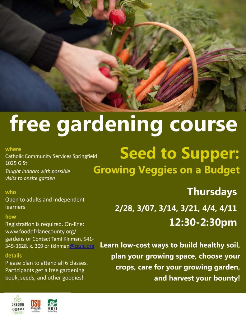 A schedule for a free gardening course.