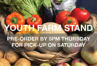 youth farm stand pre-order by 5 pm thursday for pick up on saturday - text on vegetables photo