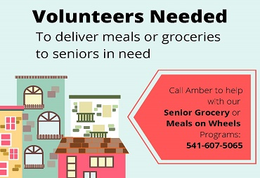 volunteers needed to deliver meals or groceries to seniors in need