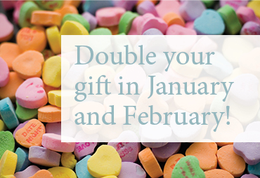 double your gift in january and february text on top of candy hearts
