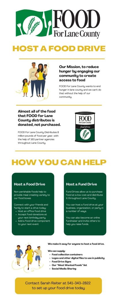 "HOST A FOOD DRIVE: Our Mission, to reduce hunger by engaging our community to create access to food. FOOD For Lane County wants to end hunger in lane county and we can't do that without the help of our community. Almost all of the food that FOOD for Lane County distributes is donated, not purchased. FOOD For Lane County Distributes 8 million pounds of food per year, with the help of 163 partner agencies throughout Lane County. How You Can Help: Host a Food Drive Non-perishable foods help to provide meal creating variety to our food boxes Connect with your friends and family to start a drive today: Host an office food drive Accept food donations at your next birthday party Add a food drive component to your next event Host a Fund Drive: Fund Drives allow us to purchase food at a low cost and distribute it throughout Lane County. You can host a fund drive at your business, organization, or party in a number of ways. You can also become an online fundraiser and invite others to help you raise funds. We make it easy for anyone to host a food drive. We can supply: Food collection containers Logos and other digital files to use in publicity Food Drive Signs Our ""Most Wanted Foods"" list Social Media Sharing Contact Sarah Reiter at 541-343-2822 ext.124 to set up your food drive today"