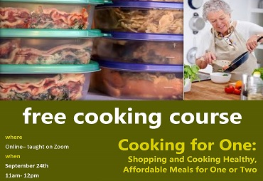 free cooking course where Online– taught on Zoom when September 24th 11am- 12pm