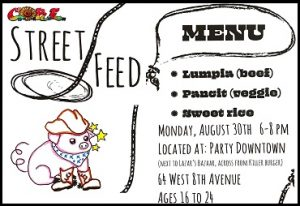 located at: Party Downtown (next to Lazar's Bazaar, across from Killer Burger). 64 West 8th Ave. Ages 16-24 Menu: Lumpia (beef) Pancit (veggie) sweet rice These are filipino dishes. Lumpia are like eggrolls and pancit is a noodle stir fry. Harm reduction supplies available info@coreeugene.org www.coreeugene.org call or text: 503-877-5320